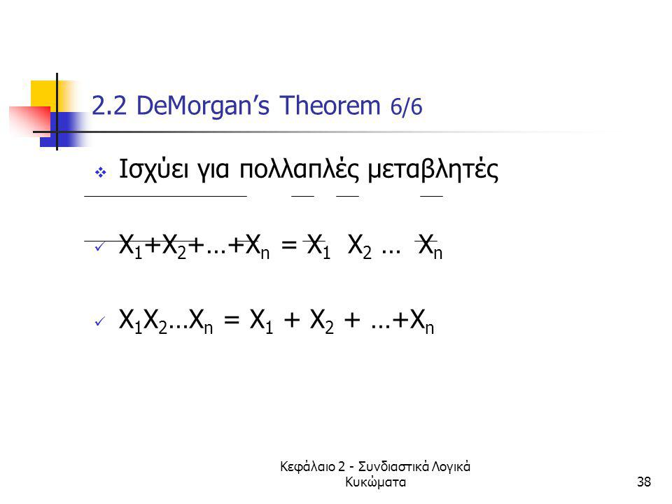 Κεφάλαιο 2 - Συνδιαστικά Λογικά Κυκώματα38 2.2 DeMorgan's Theorem 6/6  Ισχύει για πολλαπλές μεταβλητές X 1 +X 2 +…+X n = X 1 X 2 … X n X 1 X 2 …X n =