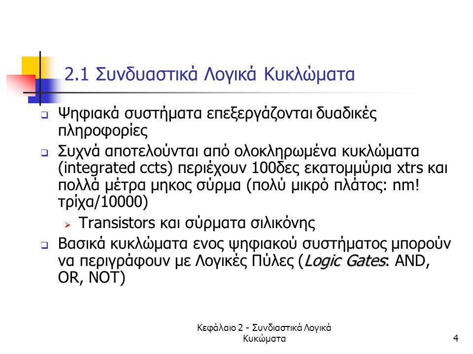 Κεφάλαιο 2 - Συνδιαστικά Λογικά Κυκώματα4 2.1 Συνδυαστικά Λογικά Κυκλώματα  Ψηφιακά συστήματα επεξεργάζονται δυαδικές πληροφορίες  Συχνά αποτελούντα