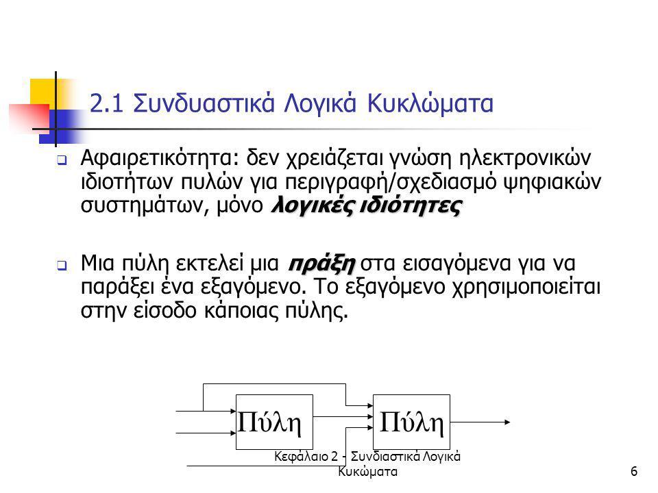 Κεφάλαιο 2 - Συνδιαστικά Λογικά Κυκώματα7 2.2 Βοοlean Algrebra  Mαθηματική Θεωρία Λογικής (1850s)  Χρησιμοποιείται για  περιγραφή δυαδικών λογικών κυκλωμάτων με μαθηματικές εκφράσεις  επεξεργασία εκφράσεων  ανάλυση και σχεδιασμό