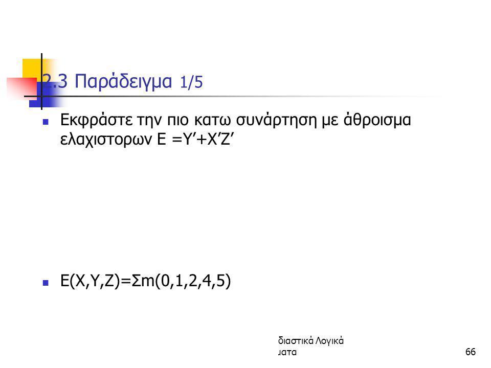 Κεφάλαιο 2 - Συνδιαστικά Λογικά Κυκώματα66 2.3 Παράδειγμα 1/5 Εκφράστε την πιο κατω συνάρτηση με άθροισμα ελαχιστορων E =Y'+X'Z' E(X,Y,Z)=Σm(0,1,2,4,5