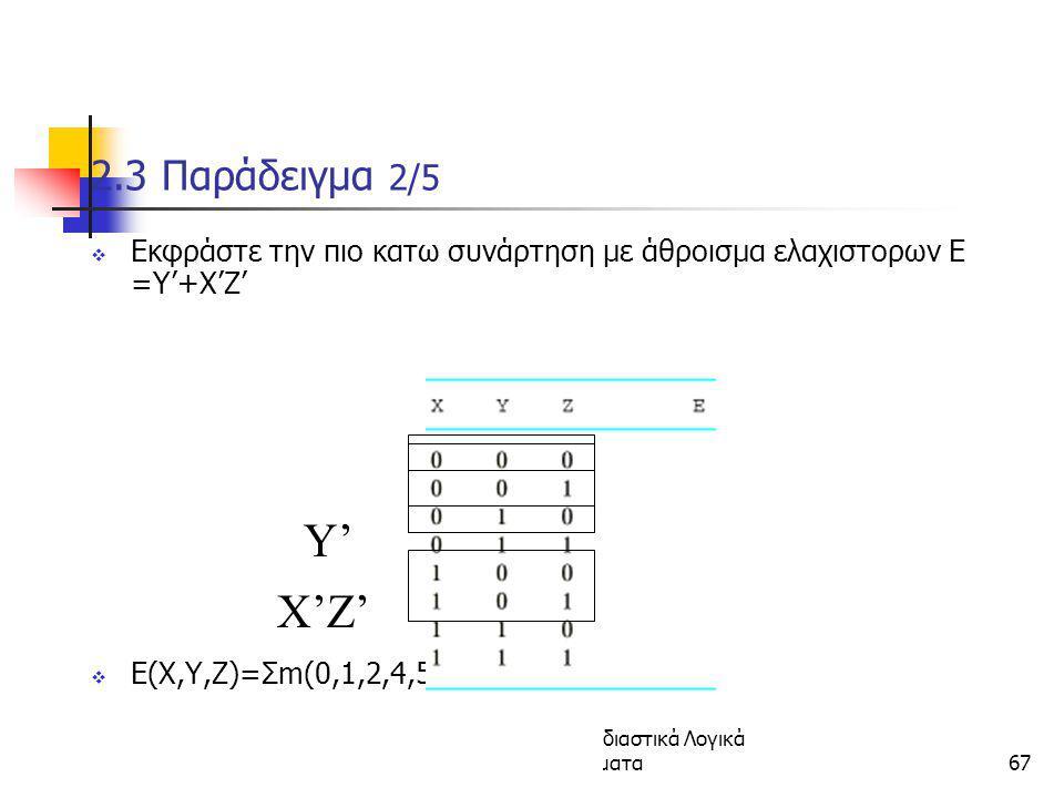 Κεφάλαιο 2 - Συνδιαστικά Λογικά Κυκώματα67 2.3 Παράδειγμα 2/5  Εκφράστε την πιο κατω συνάρτηση με άθροισμα ελαχιστορων E =Y'+X'Z'  E(X,Y,Z)=Σm(0,1,2