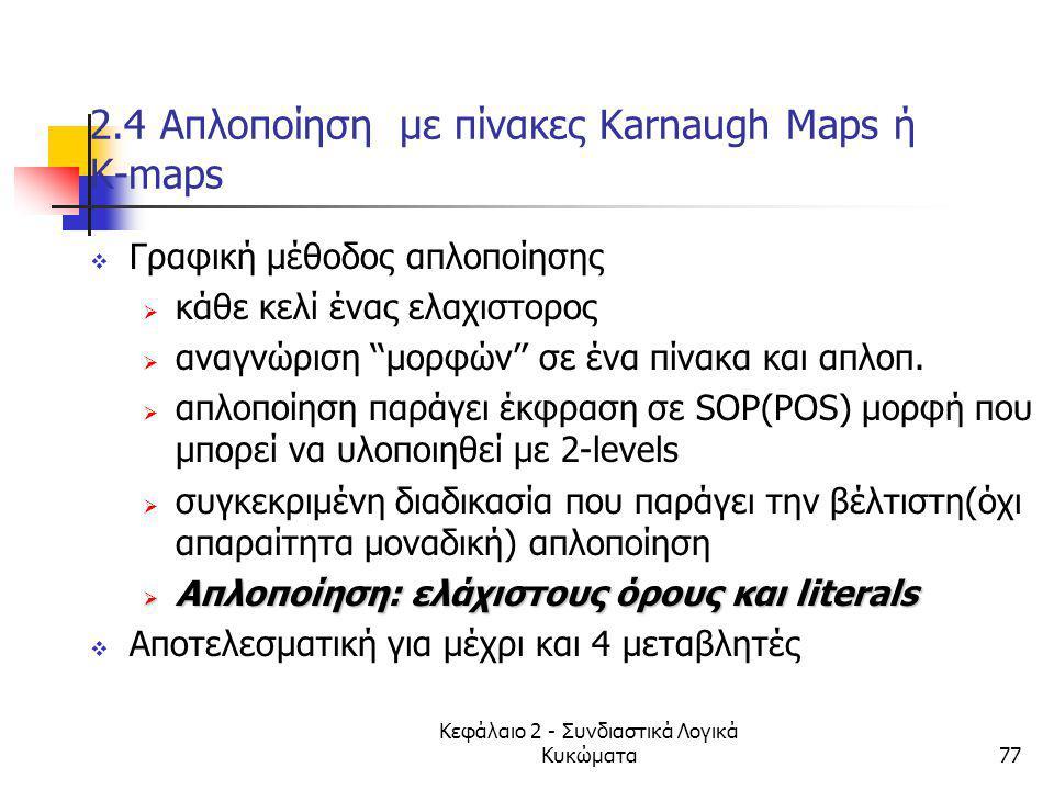 Κεφάλαιο 2 - Συνδιαστικά Λογικά Κυκώματα77 2.4 Απλοποίηση με πίνακες Κarnaugh Maps ή K-maps  Γραφική μέθοδος απλοποίησης  κάθε κελί ένας ελαχιστορος