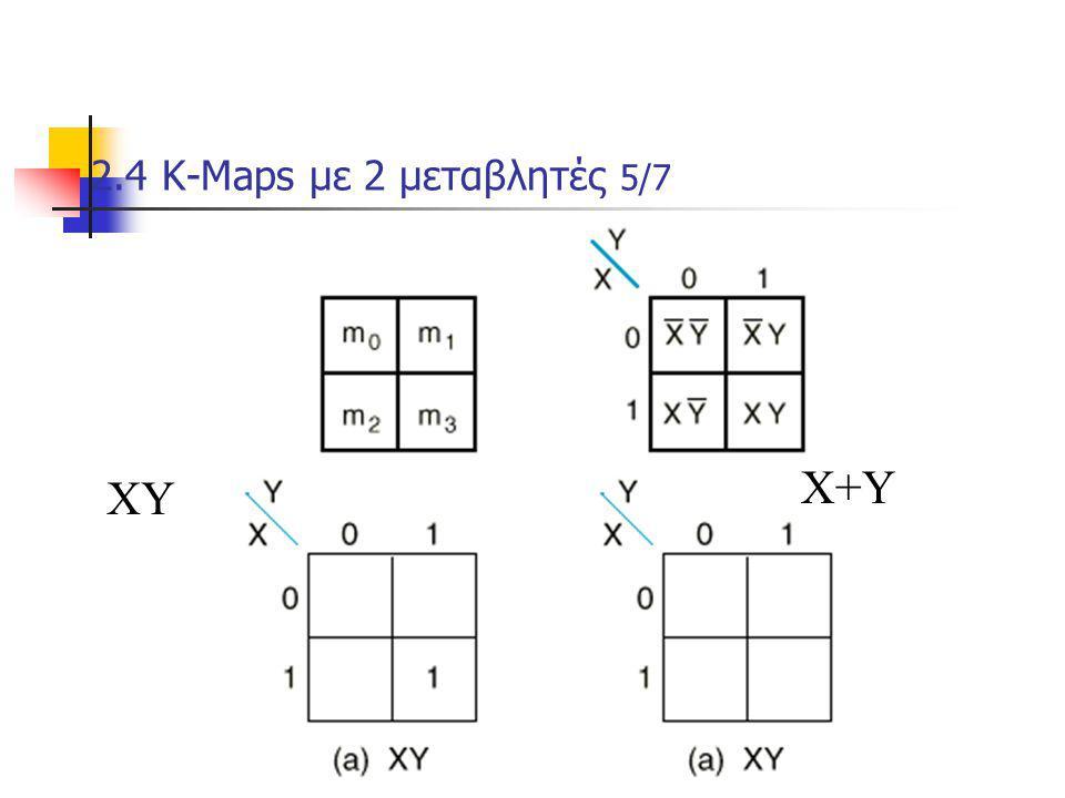 Κεφάλαιο 2 - Συνδιαστικά Λογικά Κυκώματα82 2.4 Κ-Μaps με 2 μεταβλητές 5/7 m1+m2+m3 ΧΥ Χ+Υ