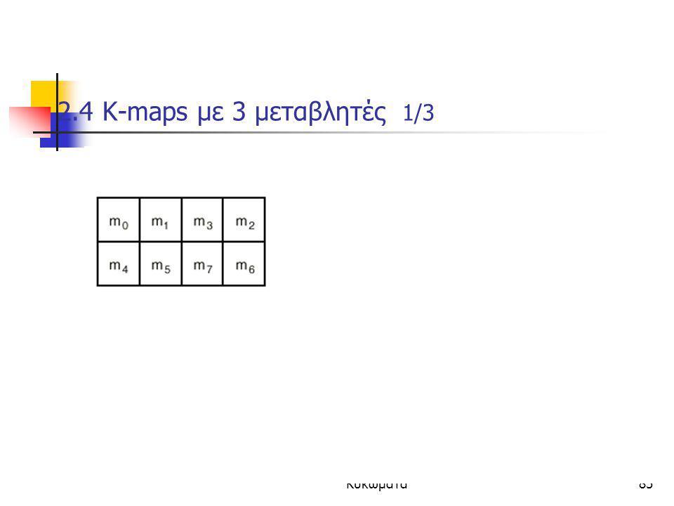Κεφάλαιο 2 - Συνδιαστικά Λογικά Κυκώματα85 2.4 K-maps με 3 μεταβλητές 1/3  Οι τιμες δυο γειτονικων (οριζοντια/καθετα) ελαχιστορων διαφερουν μονο σε ε