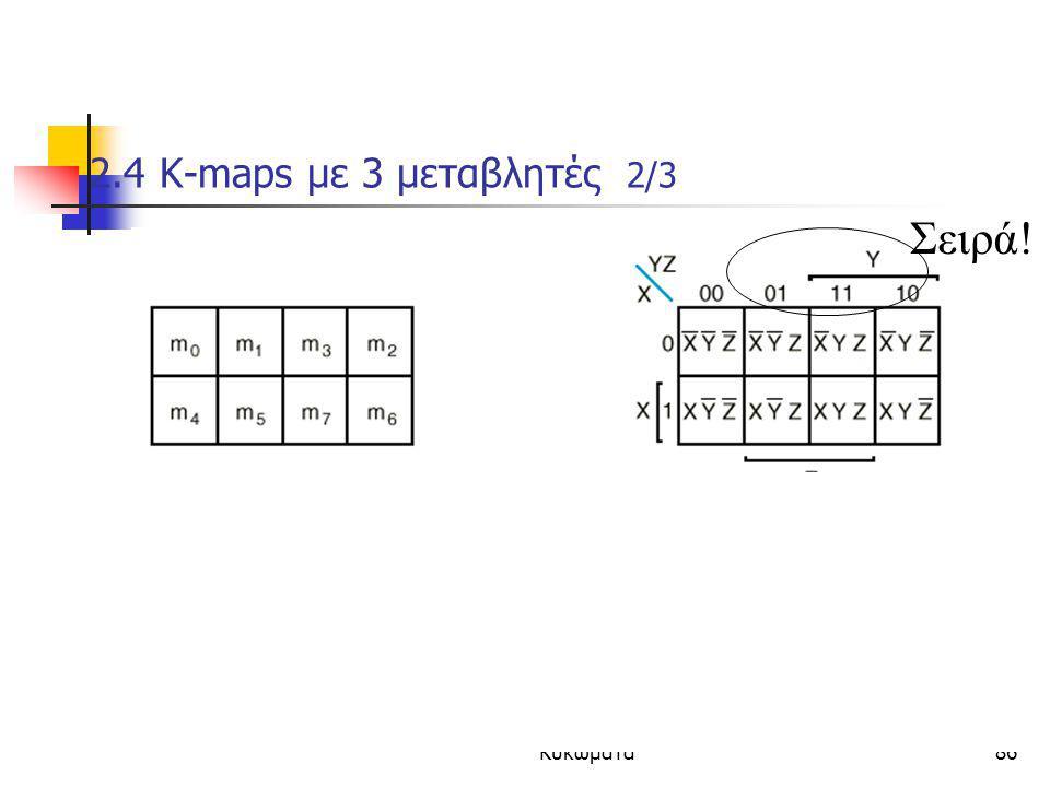 Κεφάλαιο 2 - Συνδιαστικά Λογικά Κυκώματα86 2.4 K-maps με 3 μεταβλητές 2/3  Οι τιμες δυο γειτονικων (οριζοντια/καθετα) ελαχιστορων διαφερουν μονο σε ε
