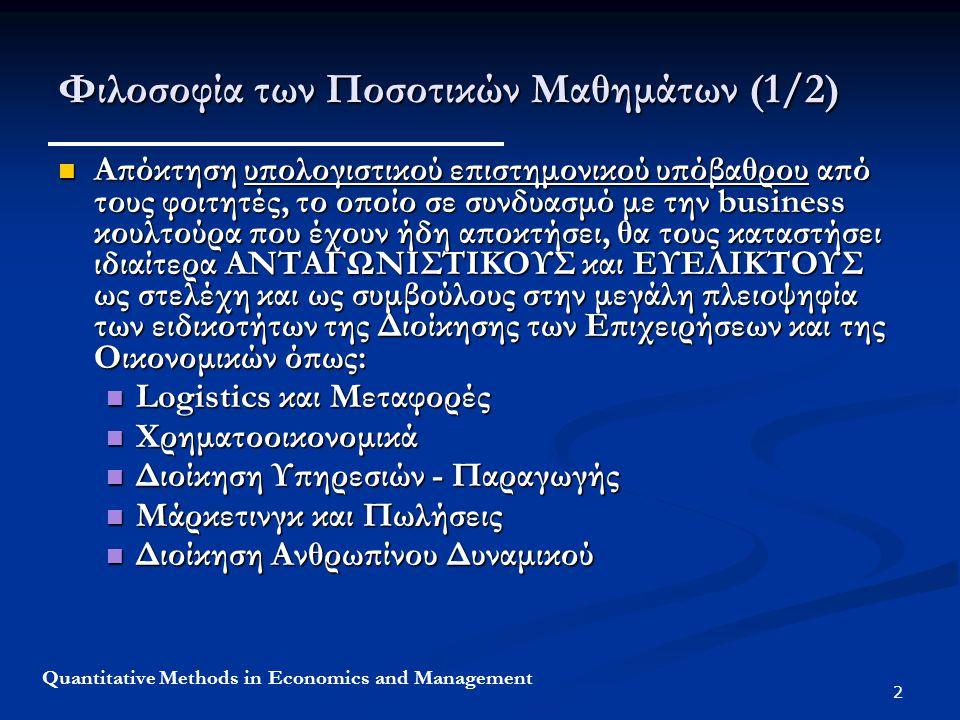 3 Quantitative Methods in Economics and Management Φιλοσοφία των Ποσοτικών Μαθημάτων (2/2) Απόκτηση υπολογιστικού επιστημονικού υπόβαθρου από τους φοιτητές, το οποίο θα τους επιτρέψει να ανταποκριθούν πλήρως στις υψηλές απαιτήσεις μεταπτυχιακών ή διδακτορικών προγραμμάτων, με αντικείμενα Απόκτηση υπολογιστικού επιστημονικού υπόβαθρου από τους φοιτητές, το οποίο θα τους επιτρέψει να ανταποκριθούν πλήρως στις υψηλές απαιτήσεις μεταπτυχιακών ή διδακτορικών προγραμμάτων, με αντικείμενα Διοικητική Επιστήμη και Επιχειρησιακή Έρευνα Διοικητική Επιστήμη και Επιχειρησιακή Έρευνα Χρηματοοικονομική Μηχανική Χρηματοοικονομική Μηχανική Υπολογιστική Εφοδιαστική (Computational Logistics) Υπολογιστική Εφοδιαστική (Computational Logistics) Επιστήμη των Υπολογιστών – Ανάπτυξη Αλγορίθμων Επιστήμη των Υπολογιστών – Ανάπτυξη Αλγορίθμων Συστήματα & Βιομηχανική Μηχανική (Industrial & Systems Engineering) Συστήματα & Βιομηχανική Μηχανική (Industrial & Systems Engineering)