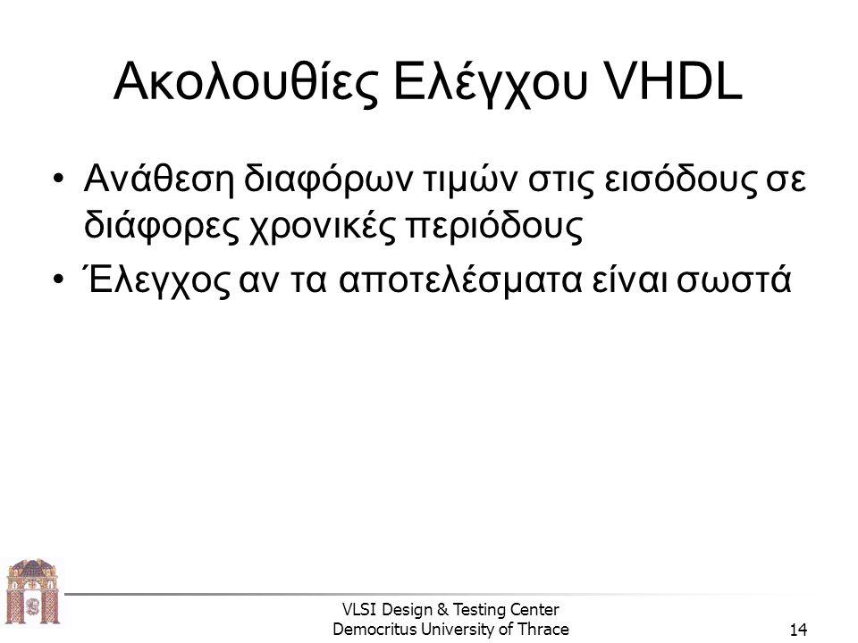 VLSI Design & Testing Center Democritus University of Thrace14 Ακολουθίες Ελέγχου VHDL Ανάθεση διαφόρων τιμών στις εισόδους σε διάφορες χρονικές περιόδους Έλεγχος αν τα αποτελέσματα είναι σωστά