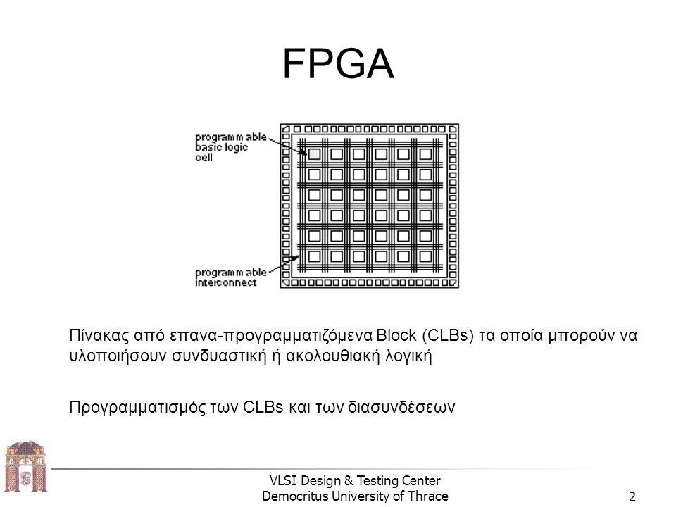 VLSI Design & Testing Center Democritus University of Thrace2 FPGA Πίνακας από επανα-προγραμματιζόμενα Block (CLBs) τα οποία μπορούν να υλοποιήσουν συνδυαστική ή ακολουθιακή λογική Προγραμματισμός των CLBs και των διασυνδέσεων