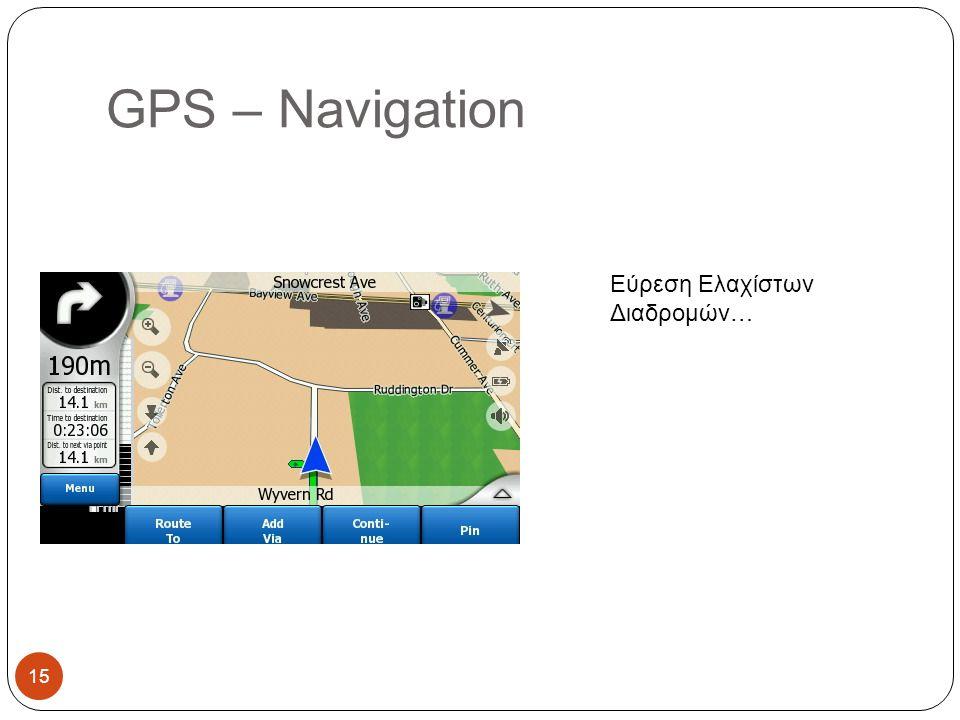 GPS – Navigation Εύρεση Ελαχίστων Διαδρομών… 15
