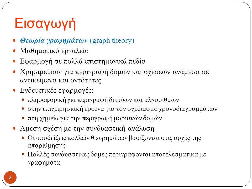 Εισαγωγή 2 Θεωρία γραφημάτων (graph theory) Μαθηματικό εργαλείο Εφαρμογή σε πολλά επιστημονικά πεδία Χρησιμεύουν για περιγραφή δομών και σχέσεων ανάμε