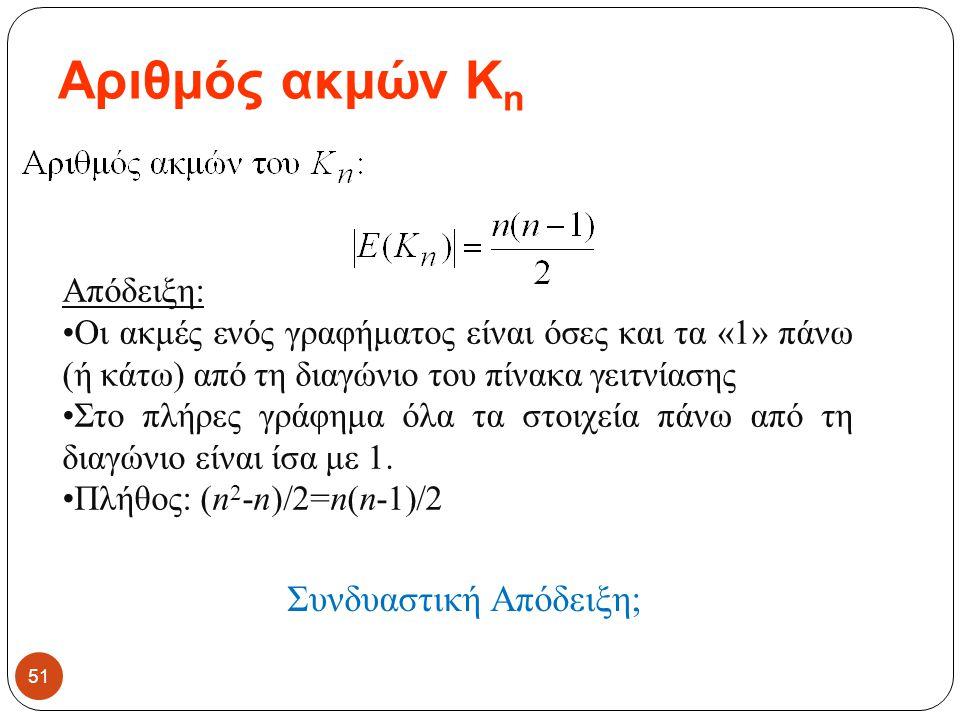 Αριθμός ακμών K n 51 Απόδειξη: Οι ακμές ενός γραφήματος είναι όσες και τα «1» πάνω (ή κάτω) από τη διαγώνιο του πίνακα γειτνίασης Στο πλήρες γράφημα ό