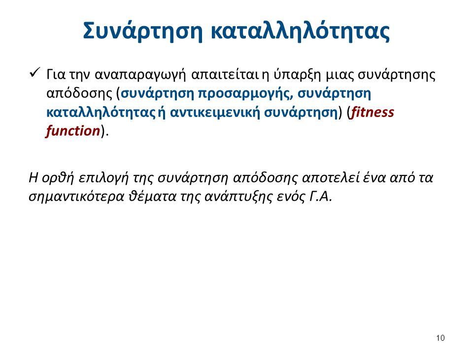 Συνάρτηση καταλληλότητας Για την αναπαραγωγή απαιτείται η ύπαρξη μιας συνάρτησης απόδοσης (συνάρτηση προσαρμογής, συνάρτηση καταλληλότητας ή αντικειμε