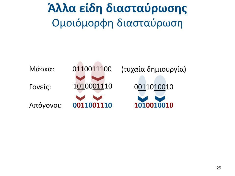 Άλλα είδη διασταύρωσης Ομοιόμορφη διασταύρωση Μάσκα: 25 0110011100 (τυχαία δημιουργία) Γονείς:0011010010 Απόγονοι:00110011101010010010 1010001110