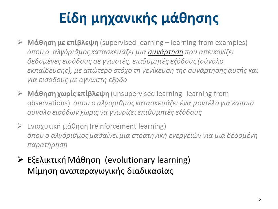 Είδη μηχανικής μάθησης  Μάθηση με επίβλεψη (supervised learning – learning from examples) όπου ο αλγόριθμος κατασκευάζει μια συνάρτηση που απεικονίζε