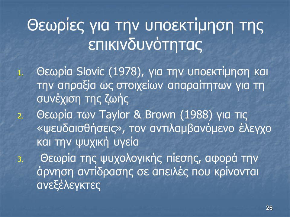 26 Θεωρίες για την υποεκτίμηση της επικινδυνότητας 1. 1. Θεωρία Slovic (1978), για την υποεκτίμηση και την απραξία ως στοιχείων απαραίτητων για τη συν