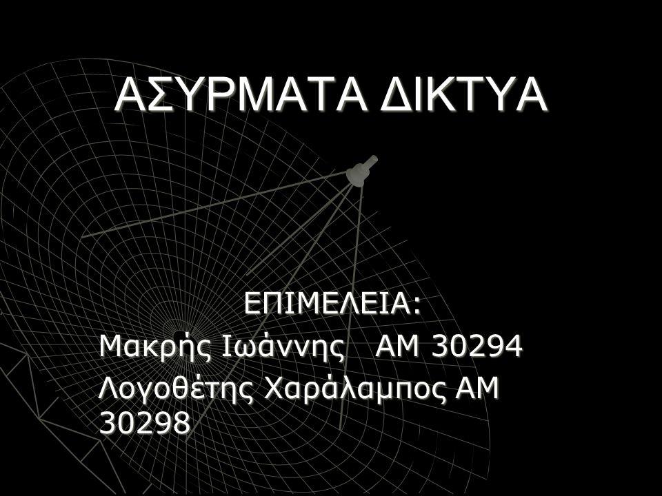 ΠΕΡΙΕΧΟΜΕΝΑ  Ιστορική αναδρομή  Ορισμός  Βασικός διαχωρισμός ασύρματων δικτύων  Ασύρματο δίκτυο τηλεφωνίας  Ασύρματα δίκτυα υπολογιστών  Πρωτόκολλα ασυρμάτων δικτύων  Εφαρμογές-παραδείγματα ασυρμάτων δικτύων
