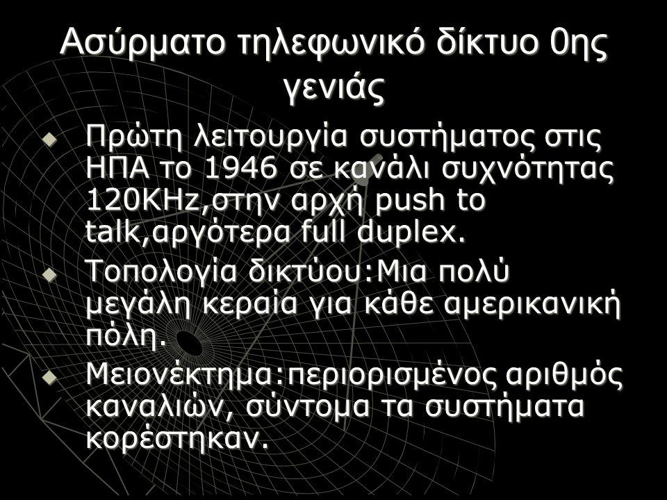 Ασύρματο τηλεφωνικό δίκτυο 0ης γενιάς  Πρώτη λειτουργία συστήματος στις ΗΠΑ το 1946 σε κανάλι συχνότητας 120ΚHz,στην αρχή push to talk,αργότερα full