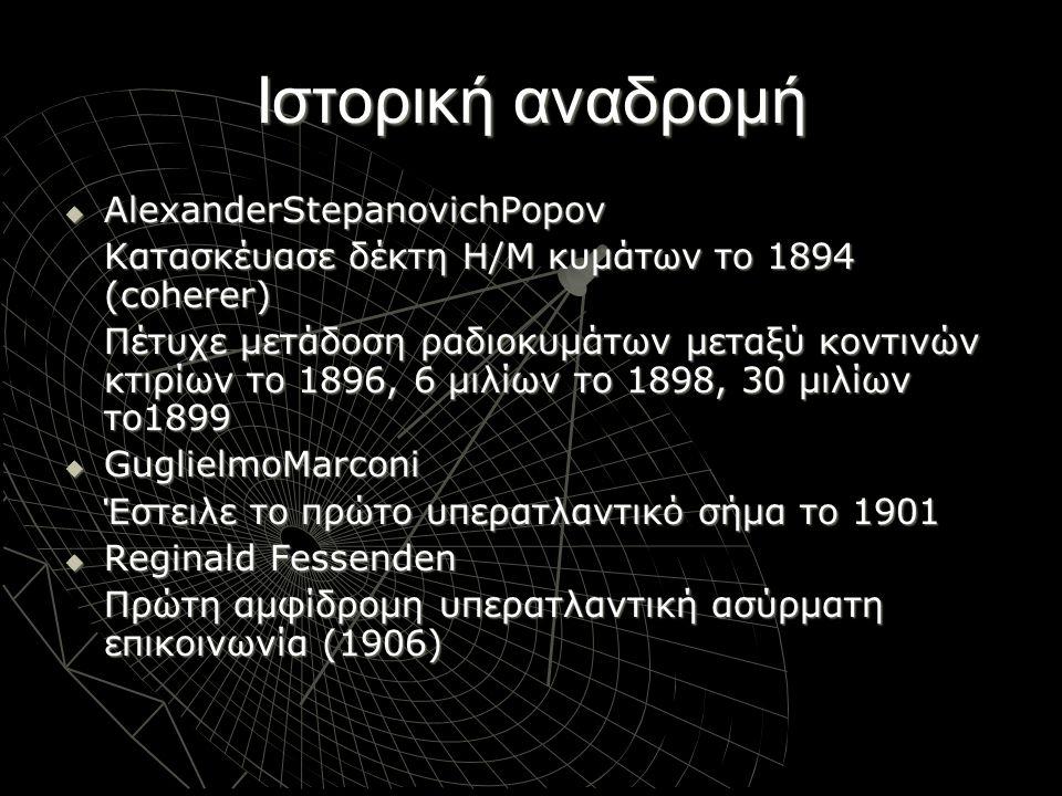 Ιστορική αναδρομή  1900-1940 Ευρεία χρήση ασύρματου τηλέγραφου κατά τον πρώτο παγκόσμιο πόλεμο Πλοήγηση Αεροσκαφών με χρήση ράδιο- βοηθημάτων (μετά το1920) Διαμόρφωση FM (Frequency Modulation) το 1935  ~1980-2020 Ασύρματη Τηλεφωνία Συστήματα Τηλεειδοποίησης Δορυφορικές Επικοινωνίες Ασύρματα Δίκτυα