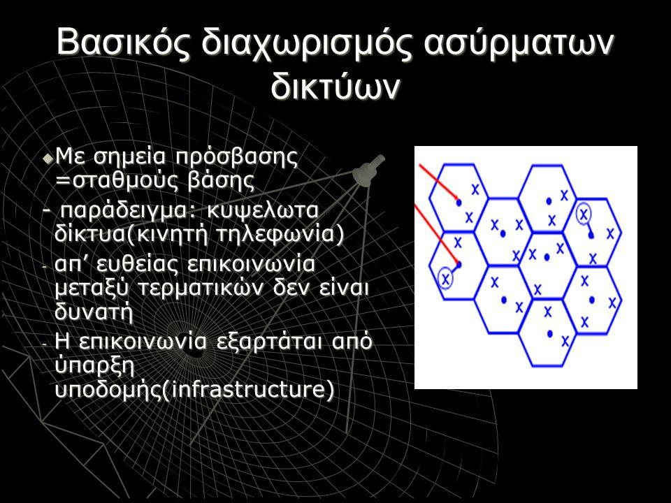 Βασικός διαχωρισμός ασύρματων δικτύων  Με σημεία πρόσβασης =σταθμούς βάσης - παράδειγμα: κυψελωτα δίκτυα(κινητή τηλεφωνία) - απ' ευθείας επικοινωνία