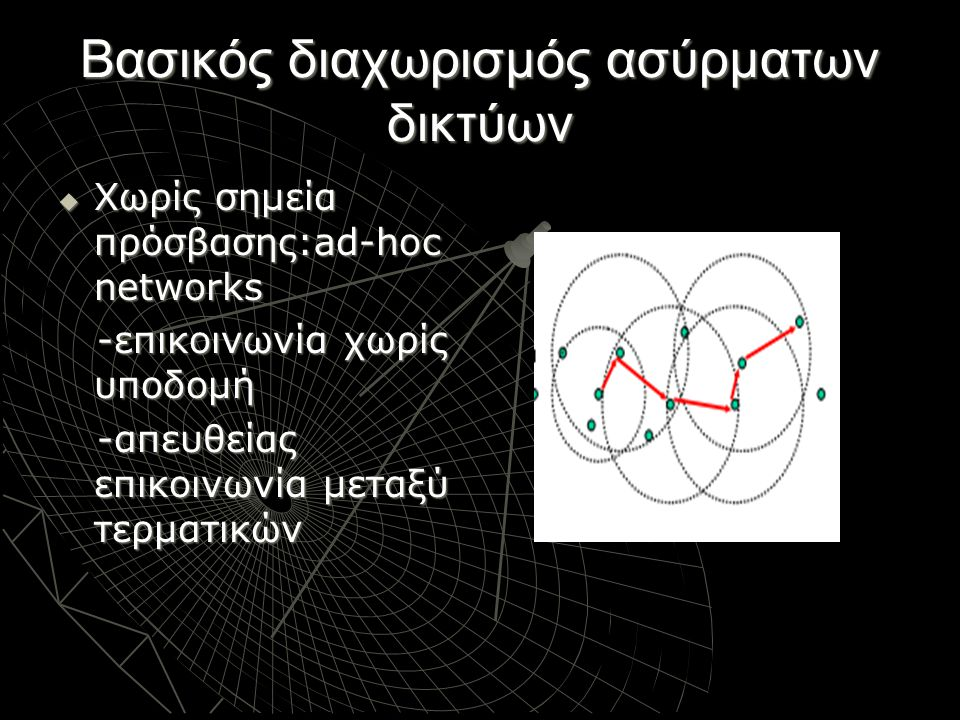 Βασικός διαχωρισμός ασύρματων δικτύων  Χωρίς σημεία πρόσβασης:ad-hoc networks -επικοινωνία χωρίς υποδομή -επικοινωνία χωρίς υποδομή -απευθείας επικοι