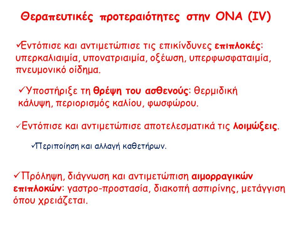 Ενδείξεις Αιμοκάθαρσης * σε Οξεία Νεφρική Ανεπάρκεια Υπερφόρτωση με υγρά (επαπειλούμενο πνευμονικό οίδημα)** Υπερκαλιαιμία (K > 6.5 mEq/L) Μεταβολική οξέωση (Ph < 7.1) Ουραιμική συνδρομή (περικαρδίτιδα, νευροπάθεια, πτώση του επιπέδου συνείδησης, ναυτία-έμετοι) Σοβαρή υπονατριαιμία (< 120 mEq / L) * ή άλλης μεθόδου εξωνεφρικής κάθαρσης.