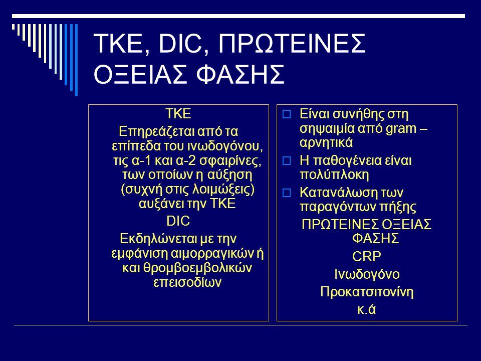 ΤΚΕ, DIC, ΠΡΩΤΕΙΝΕΣ ΟΞΕΙΑΣ ΦΑΣΗΣ ΤΚΕ Επηρεάζεται από τα επίπεδα του ινωδογόνου, τις α-1 και α-2 σφαιρίνες, των οποίων η αύξηση (συχνή στις λοιμώξεις)