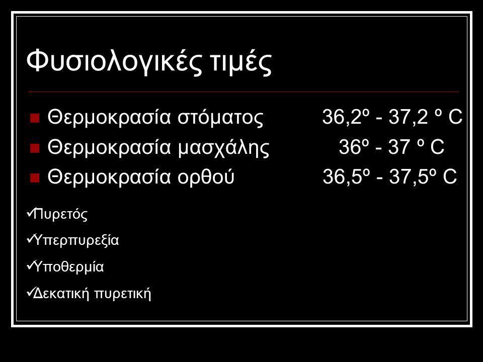 Φυσιολογικές τιμές Θερμοκρασία στόματος 36,2º - 37,2 º C Θερμοκρασία μασχάλης 36º - 37 º C Θερμοκρασία ορθού 36,5º - 37,5º C Πυρετός Υπερπυρεξία Υποθε
