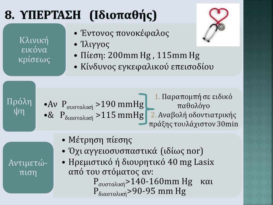 Απώλεια συνειδήσεως (χωρίς πρόδρομα συμπτώματα) Πτώση στο δάπεδο μετά από έγερση Κλινική εικόνα κρίσεως Χορήγηση 10 σταγόνων Effortil Αναισθησία σε ορ