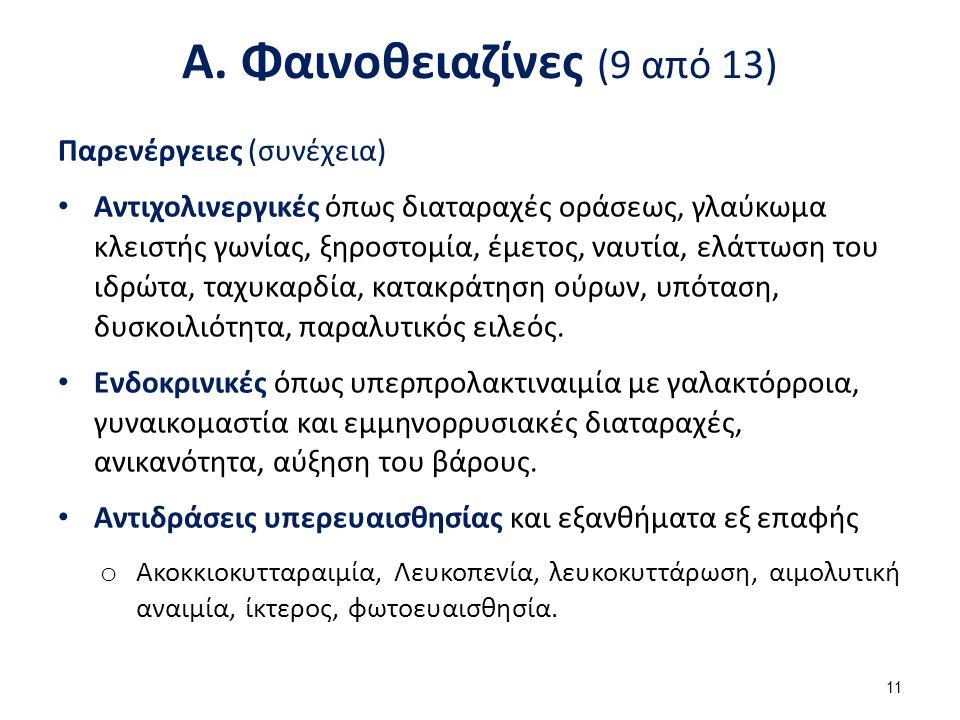 Α. Φαινοθειαζίνες (9 από 13) Παρενέργειες (συνέχεια) Αντιχολινεργικές όπως διαταραχές οράσεως, γλαύκωμα κλειστής γωνίας, ξηροστομία, έμετος, ναυτία, ε
