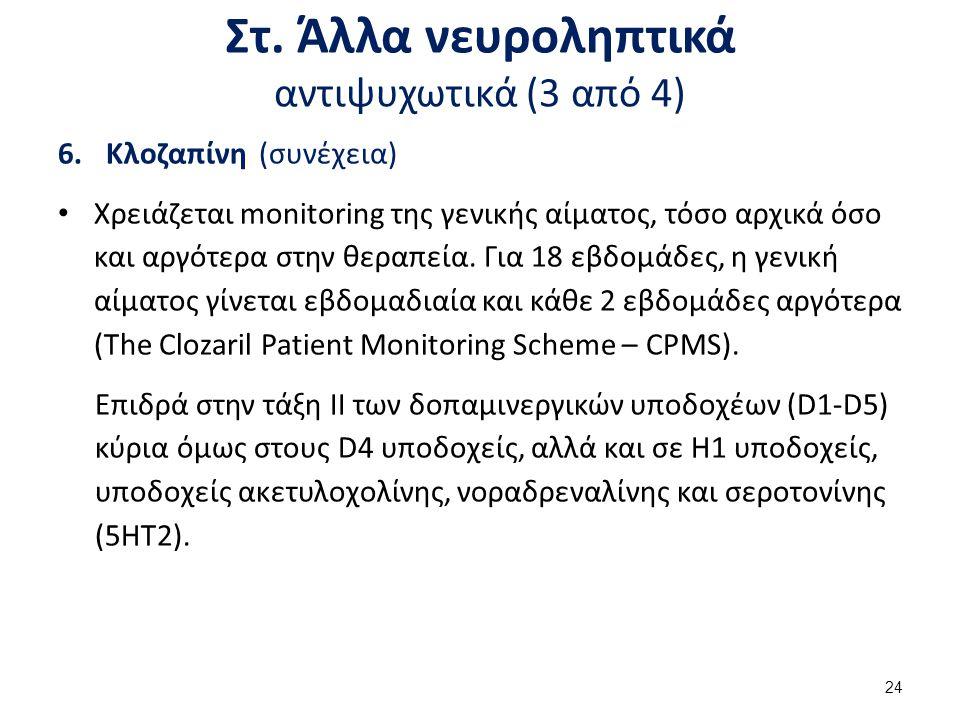 Στ. Άλλα νευροληπτικά αντιψυχωτικά (3 από 4) 6.Κλοζαπίνη (συνέχεια) Χρειάζεται monitoring της γενικής αίματος, τόσο αρχικά όσο και αργότερα στην θεραπ