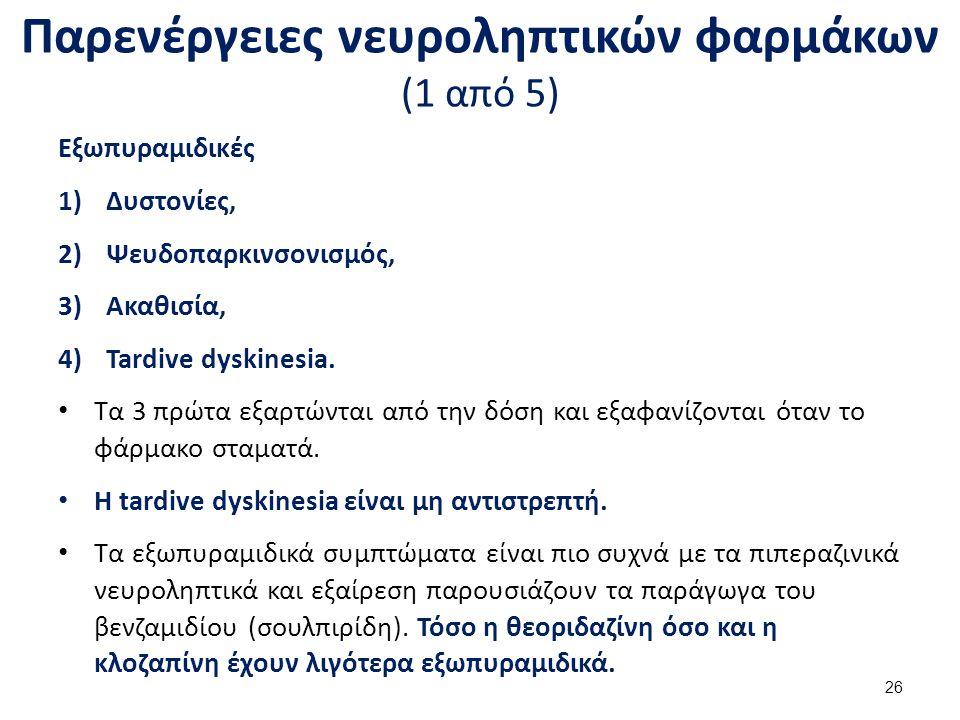 Παρενέργειες νευροληπτικών φαρμάκων (1 από 5) Εξωπυραμιδικές 1)Δυστονίες, 2)Ψευδοπαρκινσονισμός, 3)Ακαθισία, 4)Tardive dyskinesia. Τα 3 πρώτα εξαρτώντ