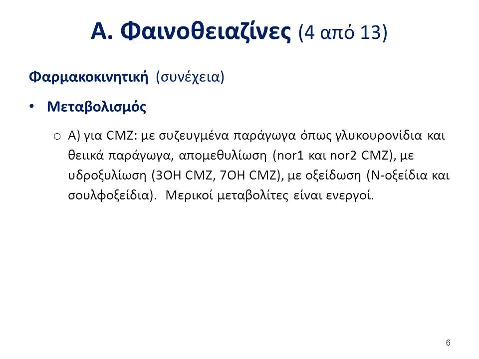 Α. Φαινοθειαζίνες (4 από 13) Φαρμακοκινητική (συνέχεια) Μεταβολισμός o Α) για CMZ: με συζευγμένα παράγωγα όπως γλυκουρονίδια και θειικά παράγωγα, απομ