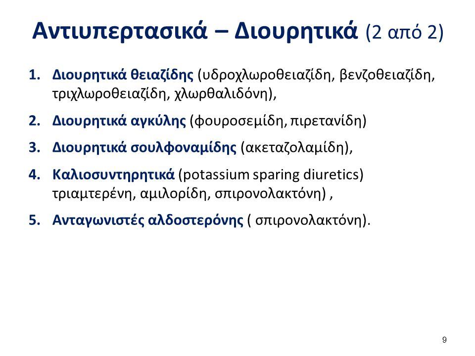 Αντιυπερτασικά – Διουρητικά (2 από 2) 1.Διουρητικά θειαζίδης (υδροχλωροθειαζίδη, βενζοθειαζίδη, τριχλωροθειαζίδη, χλωρθαλιδόνη), 2.Διουρητικά αγκύλης