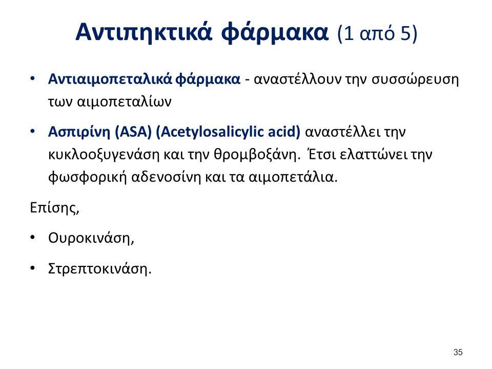 Αντιπηκτικά φάρμακα (1 από 5) Αντιαιμοπεταλικά φάρμακα - αναστέλλουν την συσσώρευση των αιμοπεταλίων Ασπιρίνη (ASA) (Acetylosalicylic acid) αναστέλλει
