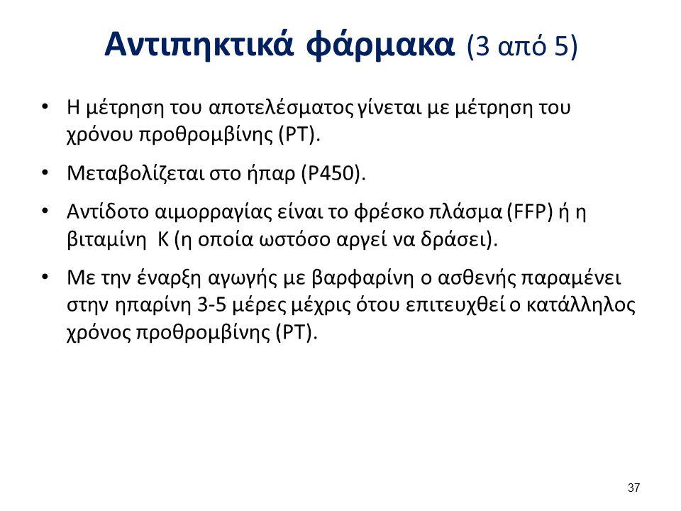 Αντιπηκτικά φάρμακα (3 από 5) Η μέτρηση του αποτελέσματος γίνεται με μέτρηση του χρόνου προθρομβίνης (PT). Μεταβολίζεται στο ήπαρ (P450). Αντίδοτο αιμ
