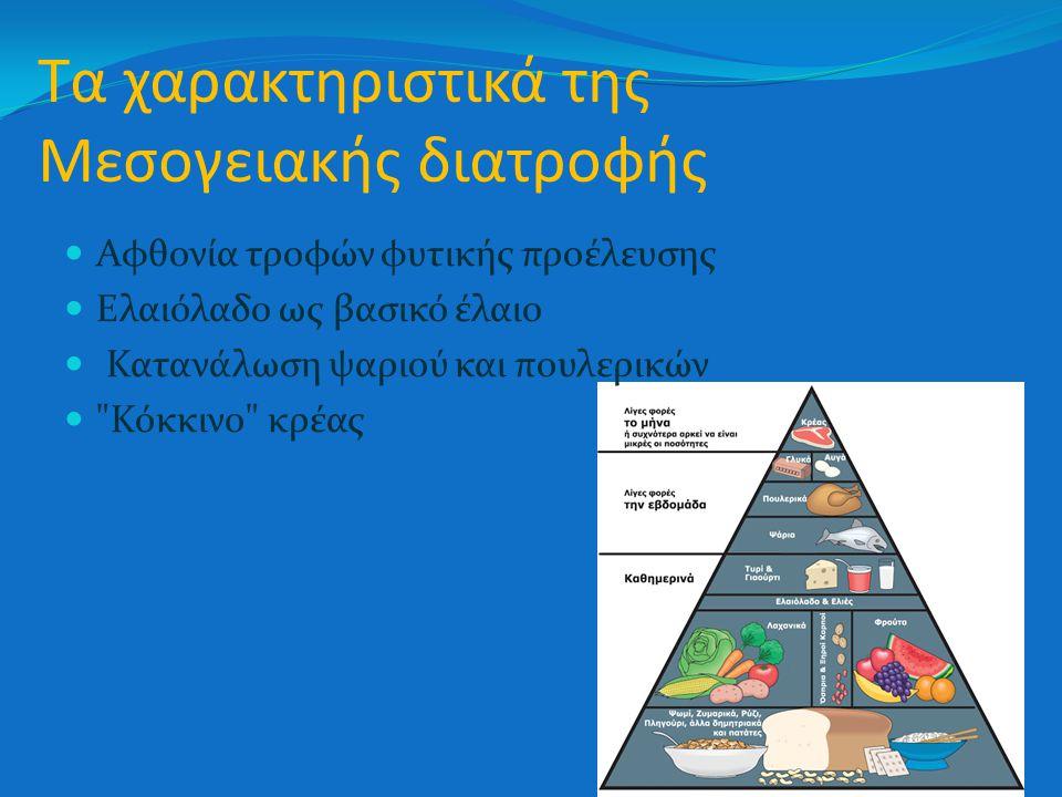 Τα χαρακτηριστικά της Μεσογειακής διατροφής Αφθονία τροφών φυτικής προέλευσης Ελαιόλαδο ως βασικό έλαιο Κατανάλωση ψαριού και πουλερικών Κόκκινο κρέας