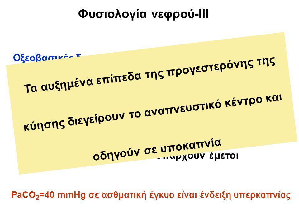 Φυσιολογία νεφρού-IΙI Οξεοβασικές διαταραχές : Χρόνια αναπνευστική αλκάλωση (προγεστερόνη) Επίπεδα PaCO 2 =27-32 mmHg Επίπεδα HCO 3 - =18-21 mEq/L Προσοχή στα αέρια αν υπάρχουν έμετοι PaCO 2 =40 mmHg σε ασθματική έγκυο είναι ένδειξη υπερκαπνίας Τα αυξημένα επίπεδα της προγεστερόνης της κύησης διεγείρουν το αναπνευστικό κέντρο και οδηγούν σε υποκαπνία