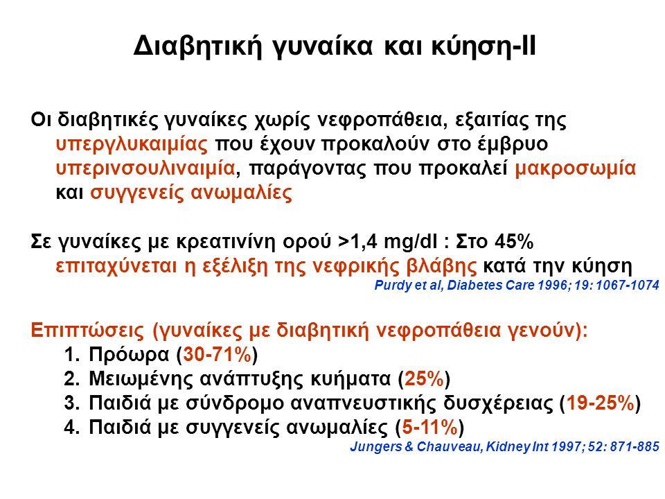 Διαβητική γυναίκα και κύηση-ΙΙ Οι διαβητικές γυναίκες χωρίς νεφροπάθεια, εξαιτίας της υπεργλυκαιμίας που έχουν προκαλούν στο έμβρυο υπερινσουλιναιμία, παράγοντας που προκαλεί μακροσωμία και συγγενείς ανωμαλίες Σε γυναίκες με κρεατινίνη ορού >1,4 mg/dl : Στο 45% επιταχύνεται η εξέλιξη της νεφρικής βλάβης κατά την κύηση Purdy et al, Diabetes Care 1996; 19: 1067-1074 Επιπτώσεις (γυναίκες με διαβητική νεφροπάθεια γενούν): 1.Πρόωρα (30-71%) 2.Μειωμένης ανάπτυξης κυήματα (25%) 3.Παιδιά με σύνδρομο αναπνευστικής δυσχέρειας (19-25%) 4.Παιδιά με συγγενείς ανωμαλίες (5-11%) Jungers & Chauveau, Kidney Int 1997; 52: 871-885
