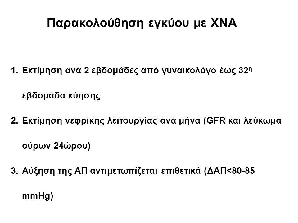 Παρακολούθηση εγκύου με ΧΝΑ 1.Εκτίμηση ανά 2 εβδομάδες από γυναικολόγο έως 32 η εβδομάδα κύησης 2.Εκτίμηση νεφρικής λειτουργίας ανά μήνα (GFR και λεύκωμα ούρων 24ώρου) 3.Αύξηση της ΑΠ αντιμετωπίζεται επιθετικά (ΔΑΠ<80-85 mmHg)