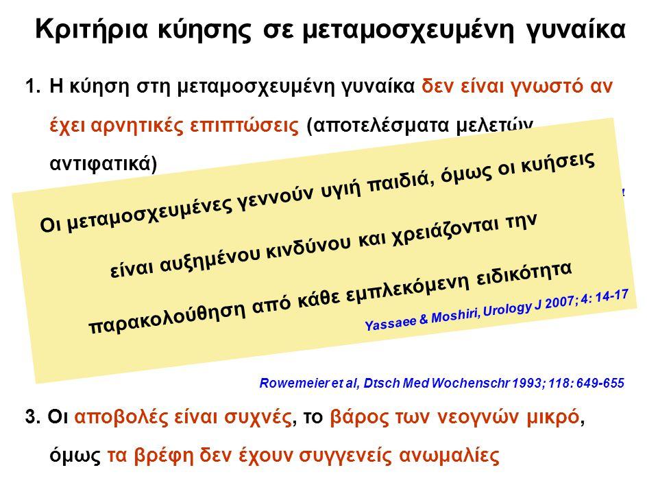 Κριτήρια κύησης σε μεταμοσχευμένη γυναίκα 1.Η κύηση στη μεταμοσχευμένη γυναίκα δεν είναι γνωστό αν έχει αρνητικές επιπτώσεις (αποτελέσματα μελετών αντιφατικά) Basaran et al, Transplant Proc 2004; 36: 122-124 Little et al, Ir J Med Sci 2000; 169: 19-21 Rowemeier et al, Dtsch Med Wochenschr 1993; 118: 649-655 2.