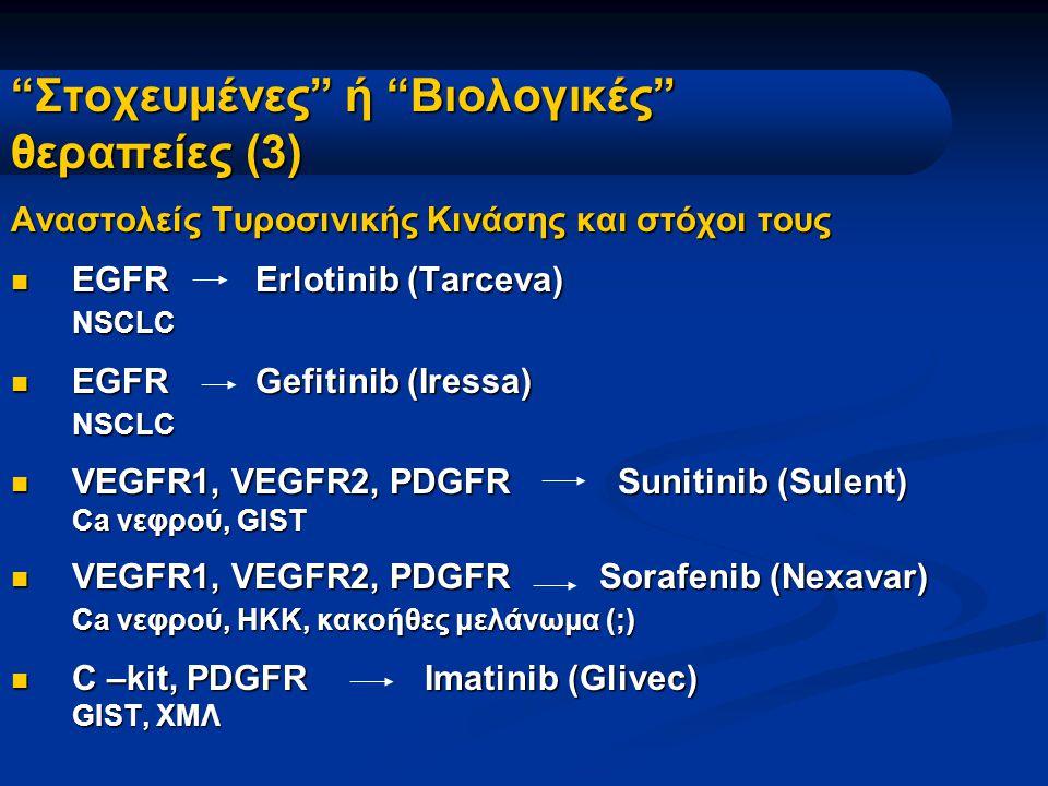"""""""Στοχευμένες"""" ή """"Βιολογικές"""" θεραπείες (3) Αναστολείς Τυροσινικής Κινάσης και στόχοι τους EGFR Erlotinib (Tarceva) EGFR Erlotinib (Tarceva)NSCLC EGFR"""