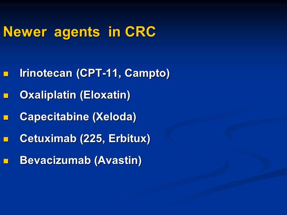 Newer agents in CRC Irinotecan (CPT-11, Campto) Irinotecan (CPT-11, Campto) Oxaliplatin (Eloxatin) Oxaliplatin (Eloxatin) Capecitabine (Xeloda) Capeci