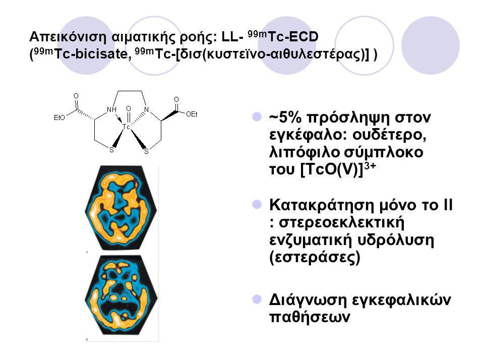 Απεικόνιση αιματικής ροής: LL- 99m Tc-ECD ( 99m Tc-bicisate, 99m Tc-[δισ(κυστεϊνο-αιθυλεστέρας)] ) ~5% πρόσληψη στον εγκέφαλο: ουδέτερο, λιπόφιλο σύμπλοκο του [TcO(V)] 3+ Κατακράτηση μόνο το ll : στερεοεκλεκτική ενζυματική υδρόλυση (εστεράσες) Διάγνωση εγκεφαλικών παθήσεων