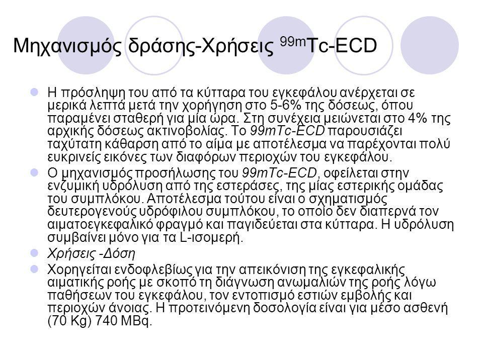 Μηχανισμός δράσης-Xρήσεις 99m Tc-ECD Η πρόσληψη του από τα κύτταρα του εγκεφάλου ανέρχεται σε μερικά λεπτά μετά την χορήγηση στο 5-6% της δόσεως, όπου παραμένει σταθερή για μία ώρα.