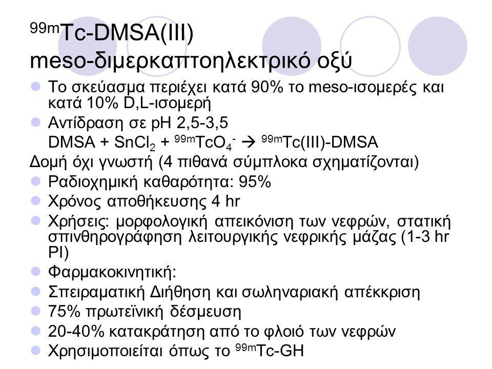 99m Tc-DMSA(III) meso-διμερκαπτοηλεκτρικό οξύ Το σκεύασμα περιέχει κατά 90% το meso-ισομερές και κατά 10% D,L-ισομερή Αντίδραση σε pH 2,5-3,5 DMSA + SnCl 2 + 99m TcO 4 -  99m Tc(III)-DMSA Δομή όχι γνωστή (4 πιθανά σύμπλοκα σχηματίζονται) Ραδιοχημική καθαρότητα: 95% Χρόνος αποθήκευσης 4 hr Χρήσεις: μορφολογική απεικόνιση των νεφρών, στατική σπινθηρογράφηση λειτουργικής νεφρικής μάζας (1-3 hr PI) Φαρμακοκινητική: Σπειραματική Διήθηση και σωληναριακή απέκκριση 75% πρωτεϊνική δέσμευση 20-40% κατακράτηση από το φλοιό των νεφρών Χρησιμοποιείται όπως το 99m Tc-GH