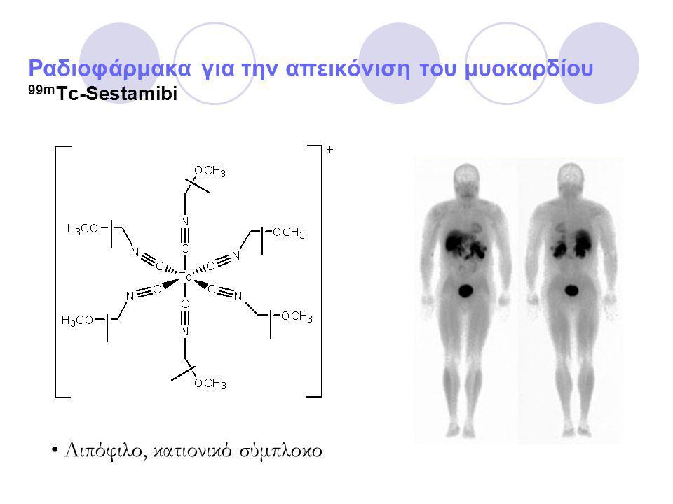 Ραδιοφάρμακα για την απεικόνιση του μυοκαρδίου 99m Tc-Sestamibi Λιπόφιλο, κατιονικό σύμπλοκο