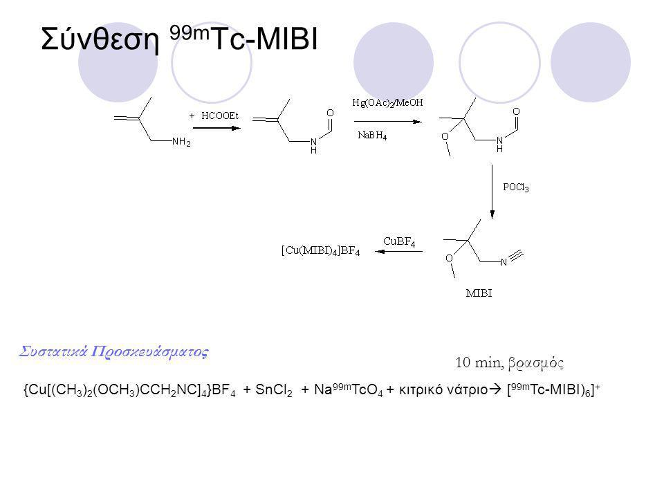 Σύνθεση 99m Tc-MIBI {Cu[(CH 3 ) 2 (OCH 3 )CCH 2 NC] 4 }BF 4 + SnCl 2 + Na 99m TcO 4 + κιτρικό νάτριο  [ 99m Tc-MIBI) 6 ] + 10 min, βρασμός Συστατικά Προσκευάσματος