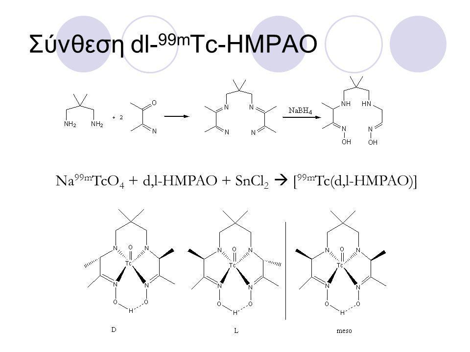 Σύνθεση dl- 99m Tc-HMPAO Na 99m TcO 4 + d,l-HMPAO + SnCl 2  [ 99m Tc(d,l-HMPAO)]