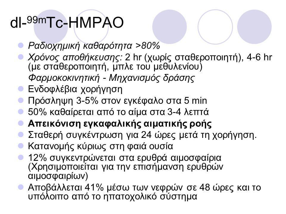 dl- 99m Tc-HMPAO Ραδιοχημική καθαρότητα >80% Χρόνος αποθήκευσης: 2 hr (χωρίς σταθεροποιητή), 4-6 hr (με σταθεροποιητή, μπλε του μεθυλενίου) Φαρμοκοκινητική - Μηχανισμός δράσης Ενδοφλέβια χορήγηση Πρόσληψη 3-5% στον εγκέφαλο στα 5 min 50% καθαίρεται από το αίμα στα 3-4 λεπτά Απεικόνιση εγκαφαλικής αιματικής ροής Σταθερή συγκέντρωση για 24 ώρες μετά τη χορήγηση.
