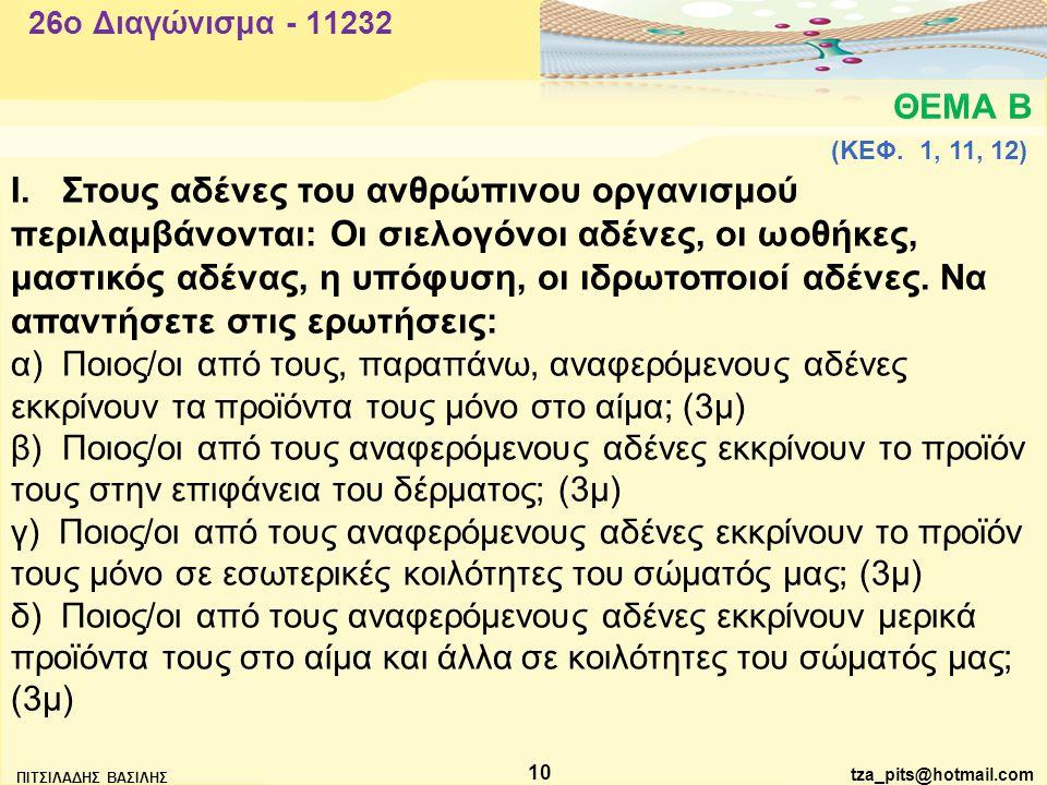 tza_pits@hotmail.com ΠΙΤΣΙΛΑΔΗΣ ΒΑΣΙΛΗΣ 10 ΘΕΜΑ Β 26o Διαγώνισμα - 11232 Ι.